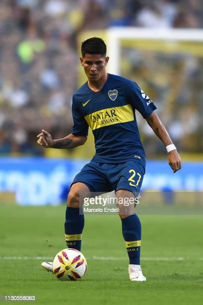 Jorman Campuzano of Boca Juniors kicks the ball during a match between Boca Juniors and Lanus as part of Superliga 2018/19 at Estadio Alberto J...