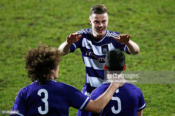 Jorn Vancamp of Anderlecht celebrates after he chests the ball into the goal from the corner taken by Tony Amrani past goalkeeper Andreu Cases Mundet...