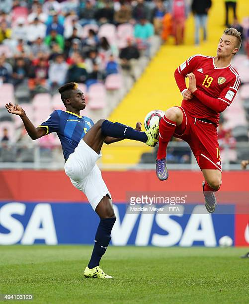 Jorn Vancamp of Belgium blocks a pass by Juan Nazareno of Ecuador during the FIFA U17 World Cup Chile 2015 Group D match between Ecuador and Belgium...