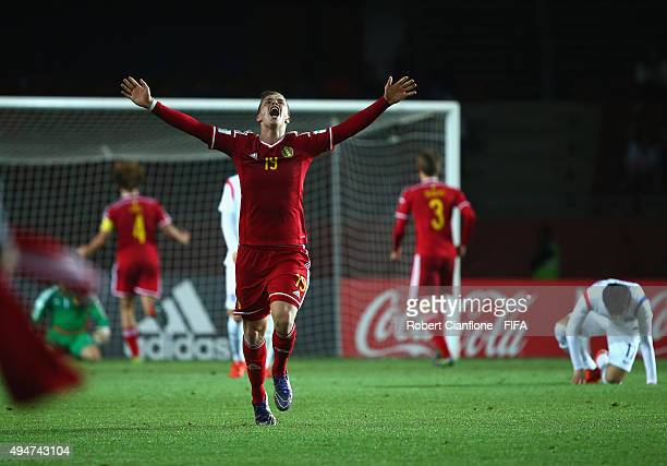 Jorn Vancamp of Belgium celebrates after they defeated Korea Republic during the FIFA U17 World Cup round of 16 match between Korea Republic and...