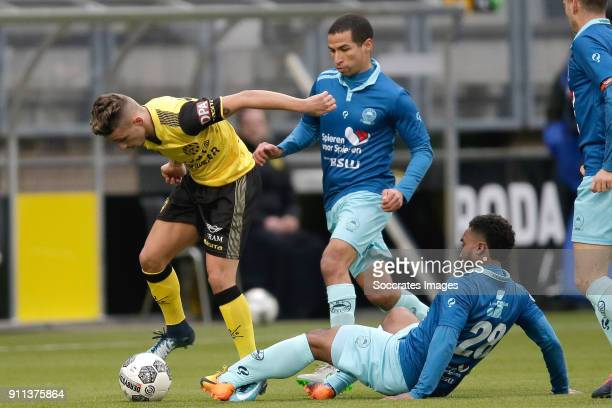 Jorn Vancamp of Roda JC Ali Messaoud of Excelsior during the Dutch Eredivisie match between Roda JC v Excelsior at the Parkstad Limburg Stadium on...