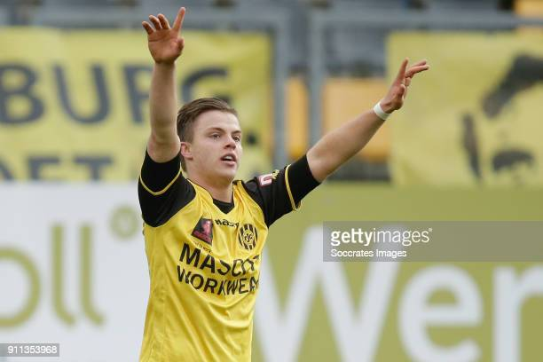 Jorn Vancamp of Roda JC celebrates 11 during the Dutch Eredivisie match between Roda JC v Excelsior at the Parkstad Limburg Stadium on January 28...