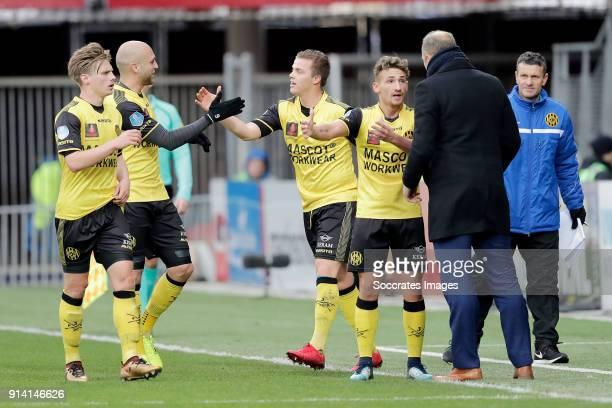 Jorn Vancamp of Roda JC celebrates 11 with Henk Dijkhuizen of Roda JC Dani Schahin of Roda JC Donis Avdijaj of Roda JC during the Dutch Eredivisie...