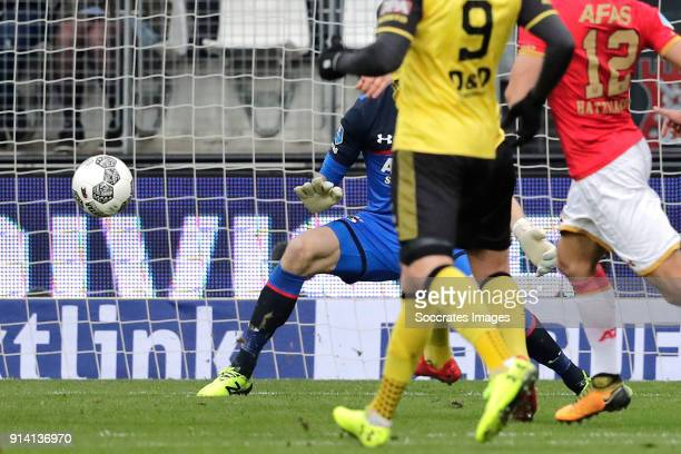 Jorn Vancamp of Roda JC scores the second goal to make it 11 during the Dutch Eredivisie match between AZ Alkmaar v Roda JC at the AFAS Stadium on...