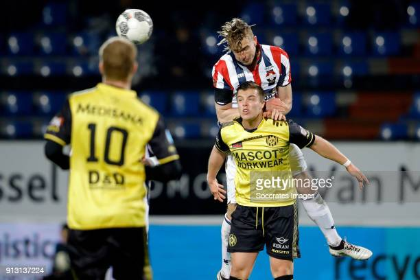 Jorn Vancamp of Roda JC Thomas Meissner of Willem II during the Dutch KNVB Beker match between Willem II v Roda JC at the Koning Willem II Stadium on...
