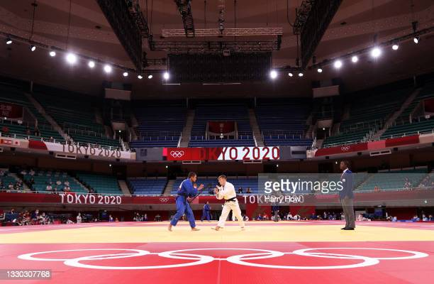 Jorre Verstraeten of Belgium and Moritz Plafky of Germany compete during the Men's Judo 60kg Elimination Round of 32 on day one of the Tokyo 2020...