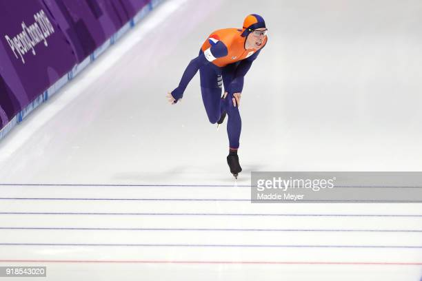 Jorrit Bergsma of the Netherlands crosses the finish line to set an Olympic record during the Speed Skating Men's 10000m on day six of the...