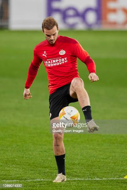 Jorrit Hendrix of PSV Eindhoven in action during training session ahead of the UEFA Europa League Group E stage match between PSV Eindhoven and...