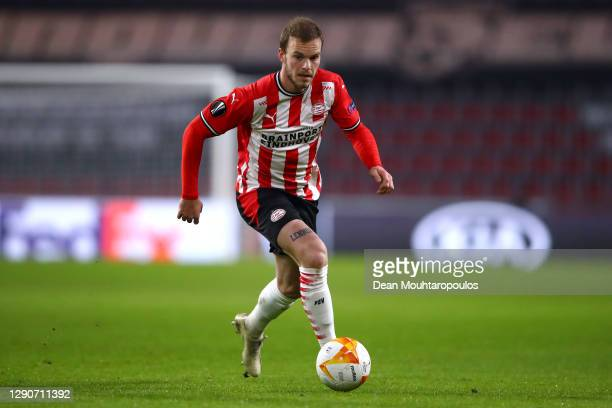 Jorrit Hendrix of PSV in action during the UEFA Europa League Group E stage match between PSV Eindhoven and AC Omonoia at Philips Stadion on December...
