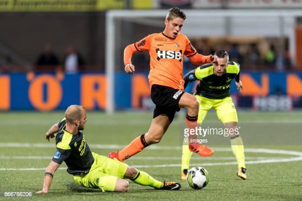Jorrit Hendrix of PSV Joey Veerman of FC Volendam Bart Ramselaar of PSV during the Second Round Dutch Cup match between FC Volendam and PSV Eindhoven...