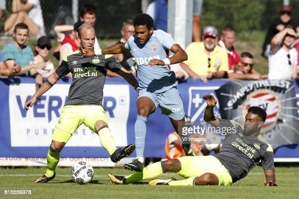 Jorrit Hendrix of PSV Jordi Mboula of AS Monaco Jurgen Locadia of PSV during the friendly match between AS Monaco and PSV Eindhoven at Stade StMarc...