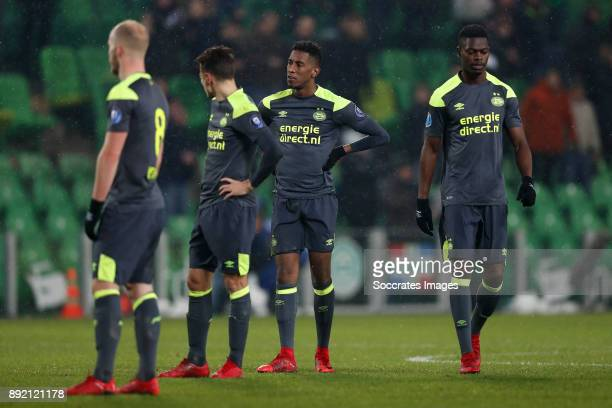 Jorrit Hendrix of PSV, Santiago Arias of PSV, Joshua Brenet of PSV, Nicolas Isimat of PSV during the Dutch Eredivisie match between FC Groningen v...