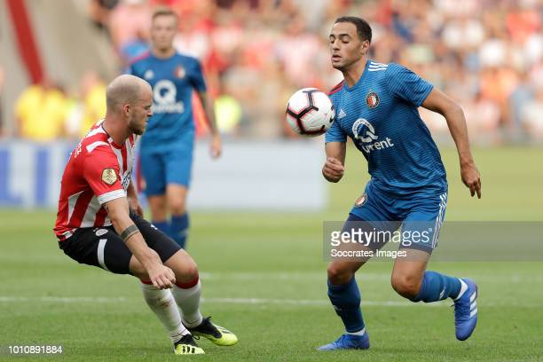 Jorrit Hendrix of PSV Sofyan Amrabat of Feyenoord during the Dutch Johan Cruijff Schaal match between PSV v Feyenoord at the Philips Stadium on...