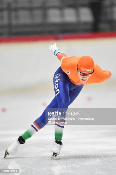 Jort Boomhouwer of Netherlands performs during the Men 1500 Meter at the ISU ISU Junior World Cup Speed Skating at Max Aicher Arena on November 26...