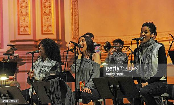 Jory Steinberg Cindy Mizelle and Kori Withers attends the soundcheck for Lean On Him A Tribute To Bill Withers at Carnegie Hall on October 1 2015 in...