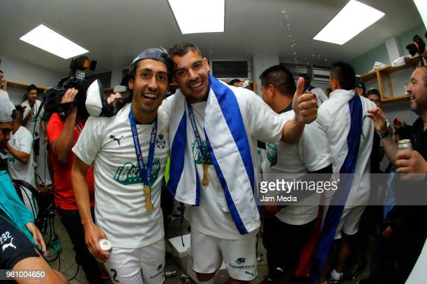 José Abella and Gerardo Alcoba of Santos celebrate the championship after the Final second leg match between Toluca and Santos Laguna as part of the...