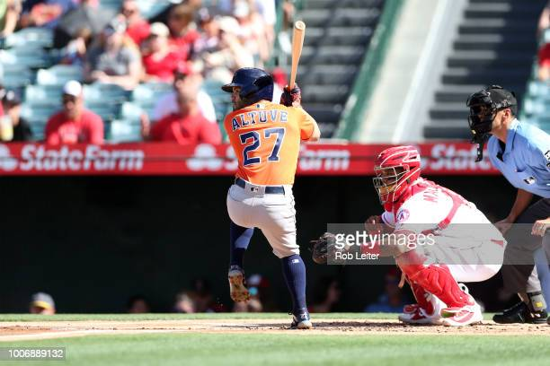 José Altuve of the Houston Astros bats during the game against the Los Angeles Angels at Angel Stadium on July 21 2018 in Anaheim California The...