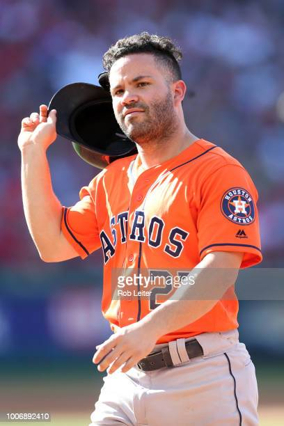 José Altuve of the Houston Astros looks on during the game against the Los Angeles Angels at Angel Stadium on July 21 2018 in Anaheim California The...