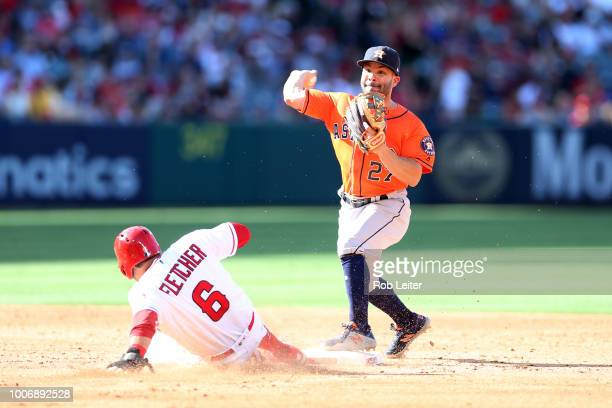 José Altuve of the Houston Astros plays second base during the game against the Los Angeles Angels at Angel Stadium on July 21 2018 in Anaheim...