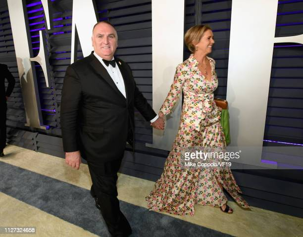 José Andrés and Patricia Andres attend the 2019 Vanity Fair Oscar Party hosted by Radhika Jones at Wallis Annenberg Center for the Performing Arts on...