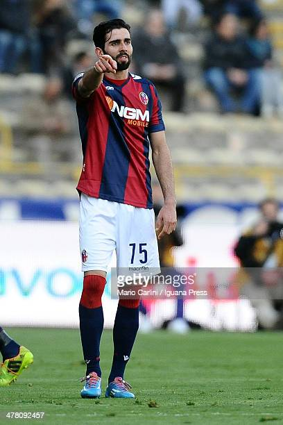 Josè Angel Crespo of Bologna FC reacts during the Serie A match between Bologna FC and US Sassuolo Calcio at Stadio Renato Dall'Ara on March 9 2014...