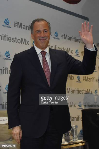 José Antonio Meade presidential candidate for the Coalition All For Mexico greets the audience during a conference as part of the 'Dialogues Mexico...
