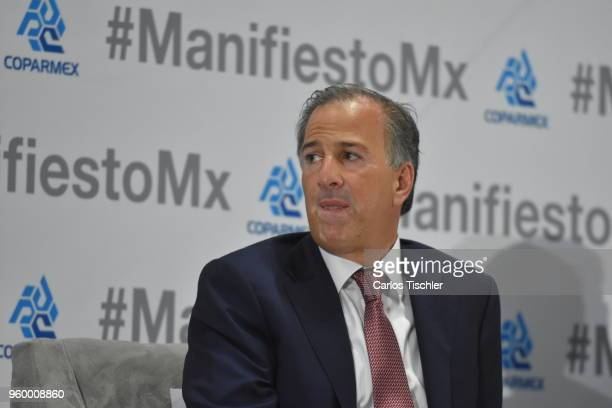 José Antonio Meade presidential candidate for the Coalition All For Mexico gestures during a conference as part of the 'Dialogues Mexico Manifesto'...