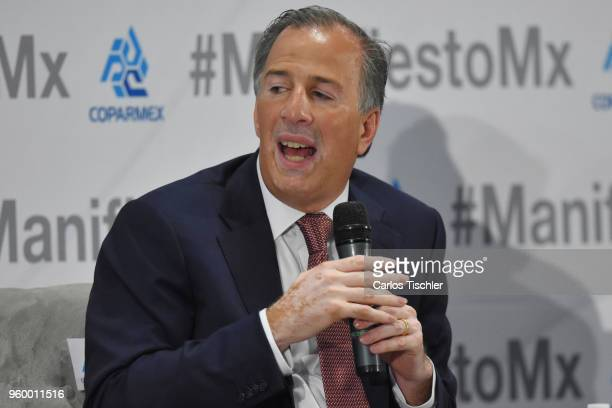 José Antonio Meade presidential candidate for the Coalition All For Mexico speaks during a conference as part of the 'Dialogues Mexico Manifesto'...