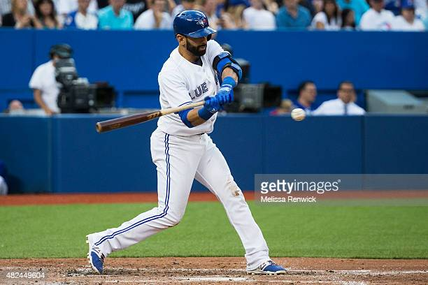 José Bautista hits a foul in the second inning during Blue Jays game against the Kansas City Royals at the Rogers Centre. July 30, 2015