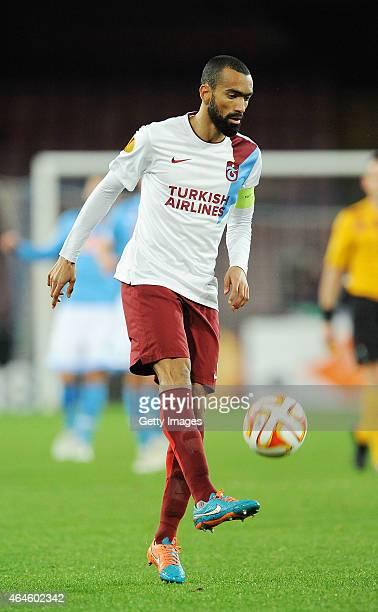 Josè Bosingwa of Trabzonspor in action during the UEFA Europa League Round of 32 football match between SSC Napoli and Trabzonspor AS at the San...