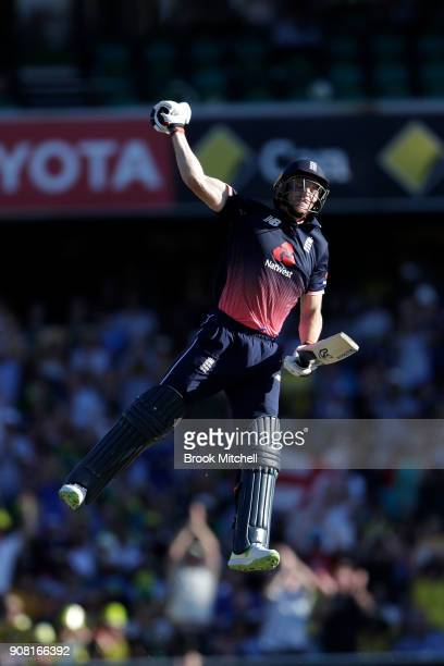 Jos Butler of England celebrates his hundred during game three of the One Day International series between Australia and England at Sydney Cricket...
