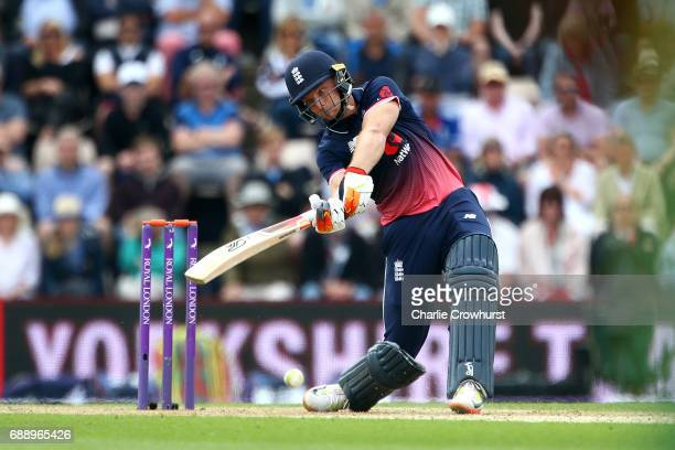 Jos Butler of England hits out during the Royal London ODI match between England and South Africa at The Ageas Bowl on May 27 2017 in Southampton...
