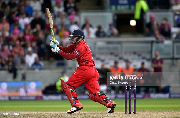 Jos Butler of Lancashire hits out during the NatWest T20 Blast Final between Lancashire Lightning and Northamptonshire Steelbacks at Edgbaston on...