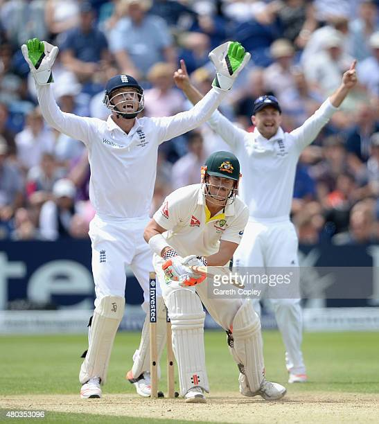 Jos Buttler and Adam Lyth of England successfully appeal for the wicket of David Warner of Australia during day four of the 1st Investec Ashes Test...