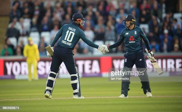 Jos Buttler and Alex Hales of England celebrate closing out the win during the 4th Royal London ODI at Emirates Durham ICG on June 21 2018 in...