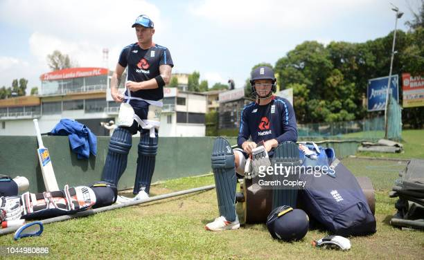 Jos Buttler and Jason Roy of England wait to bat during a nets session at P Sara Oval on October 3 2018 in Colombo