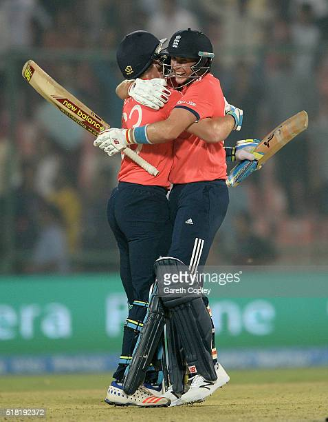 Jos Buttler and Joe Root of England celebrate winning the ICC World Twenty20 India 2016 Semi Final match between England and New Zealand at Feroz...