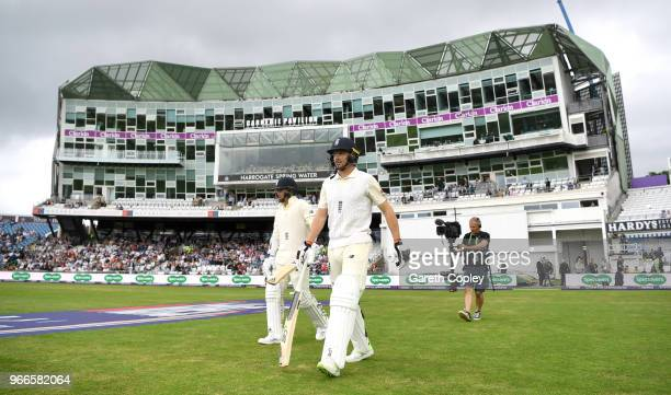 Jos Buttler and Sam Curran of England walk out to bat ahead of day three of the 2nd NatWest Test match between England and Pakistan at Headingley on...