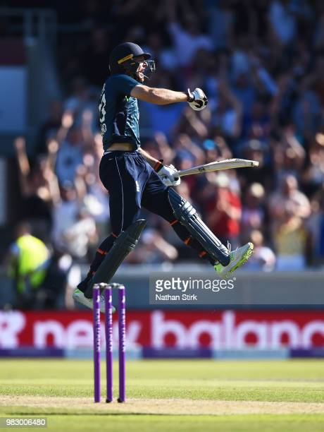 Jos Buttler celebrates after winning the match during the 5th Royal London ODI match between England and Australia at Emirates Old Trafford on June...