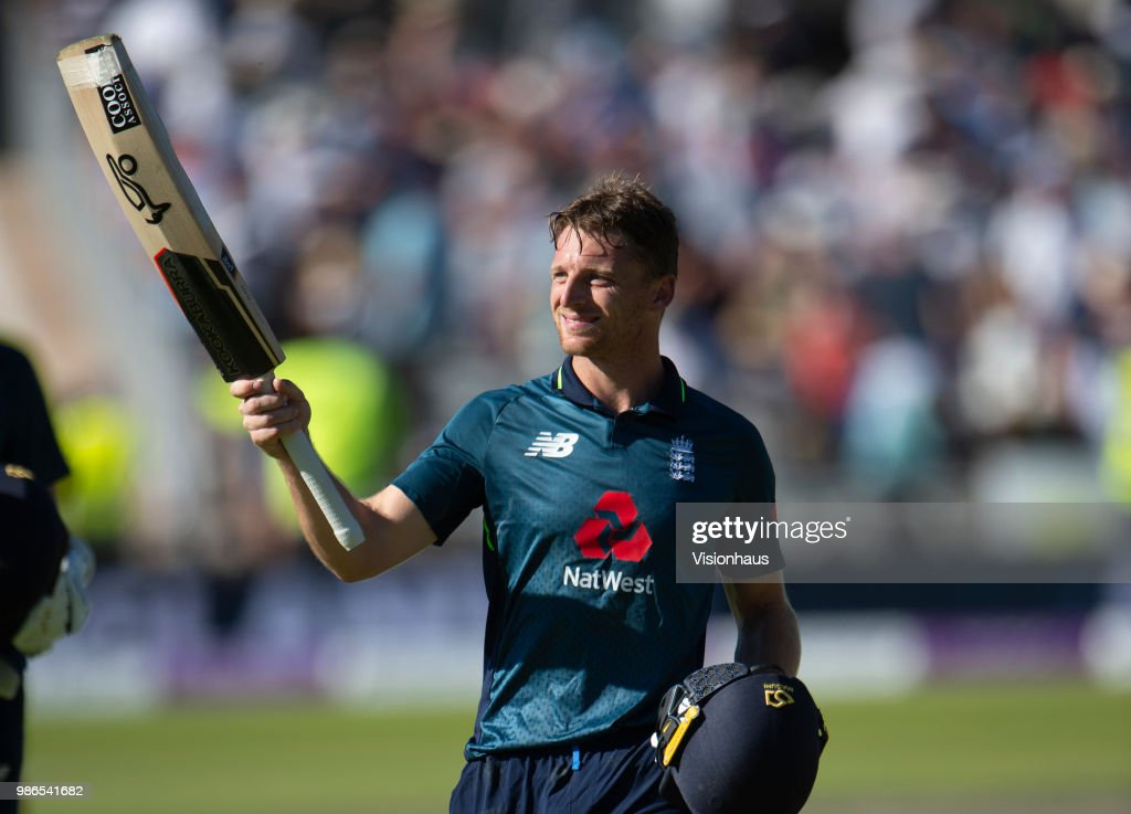 Jos Buttler celebrates guiding England to victory during the 5th Royal London ODI between England and Australia at the Emirates Old Trafford Cricket Ground on June 24, 2018 in Manchester, England.