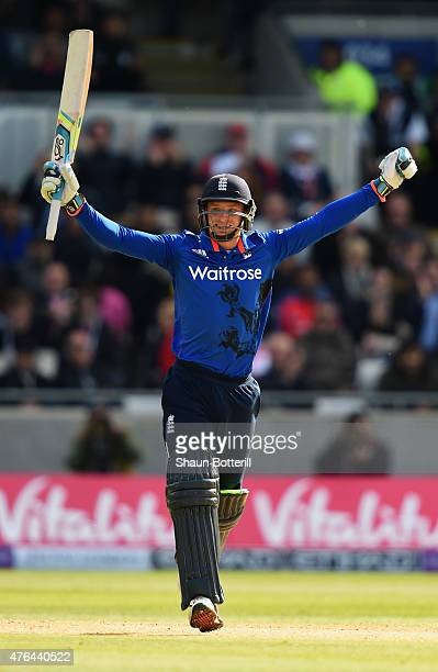 Jos Buttler celebrates reaching his century during the 1st ODI Royal London OneDay Series 2015 match between England and NewZealand at Edgbaston on...