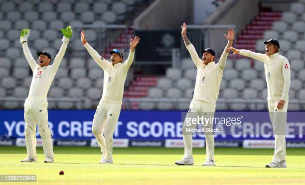 Jos Buttler , Joe Root, Ben Stokes and Zak Crawley of England appeal successfully for the wicket of John Campbell during Day Two of the 2nd Test...
