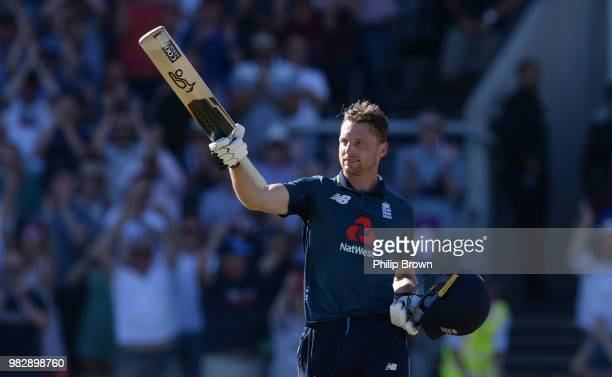 Jos Buttler of England after hitting the winning runs in the fifth Royal London OneDay International match between England and Australia at Emirates...