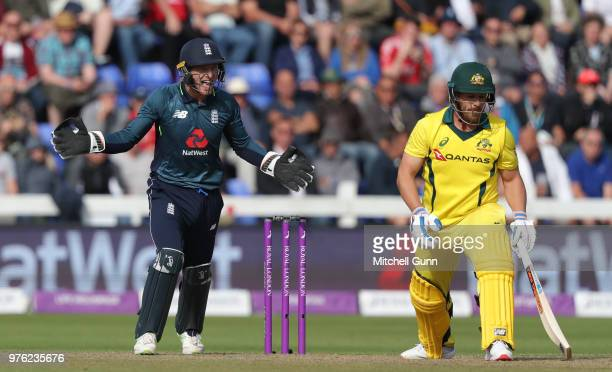 Jos Buttler of England appeals for the wicket of Aaron Finch of Australia during the 2nd Royal London One day International match between England and...