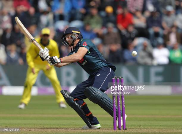 Jos Buttler of England attempts a ramp shot during the 2nd Royal London One day International match between England and Australia at Sophia Gardens...