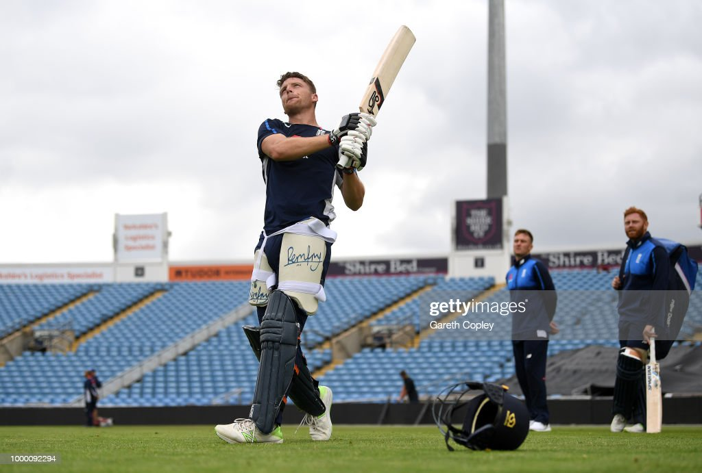 Jos Buttler of England bats during a net session at Headingley on July 16, 2018 in Leeds, England.