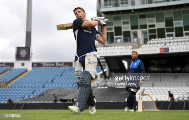 Jos Buttler of England bats during a net session at Headingley on July 16 2018 in Leeds England