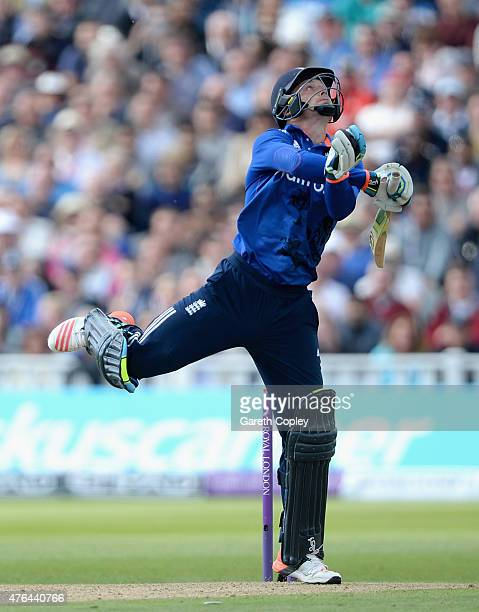 Jos Buttler of England bats during the 1st ODI Royal London OneDay match between England and New Zealand at Edgbaston on June 9 2015 in Birmingham...