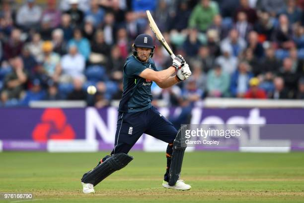 Jos Buttler of England bats during the 2nd Royal London ODI between England and Australia at SWALEC Stadium on June 16 2018 in Cardiff Wales