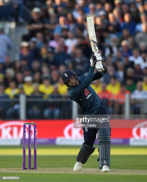 Jos Buttler of England bats during the 4th Royal London One Day International between England and Australia at Emirates Durham ICG on June 21 2018 in...
